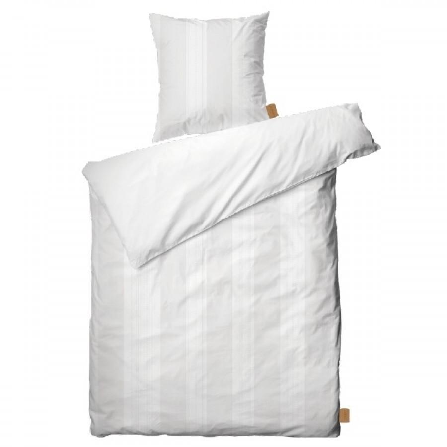 Juna Folded Strib Sengesæt Hvid 140x220